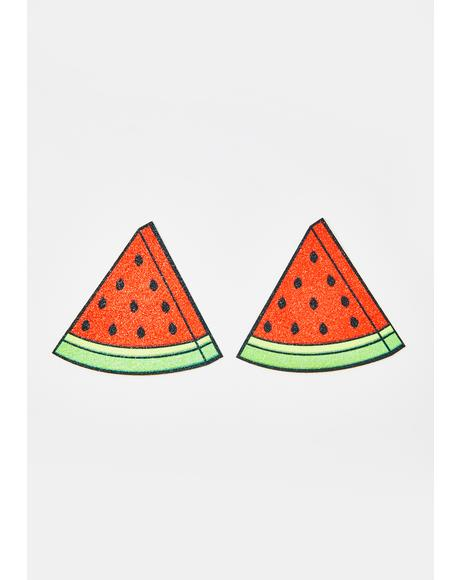 Watermelon Slice Glitter Pasties