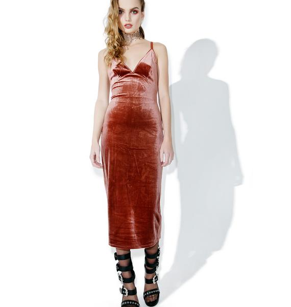 Sandalwood Velvet Slip Dress