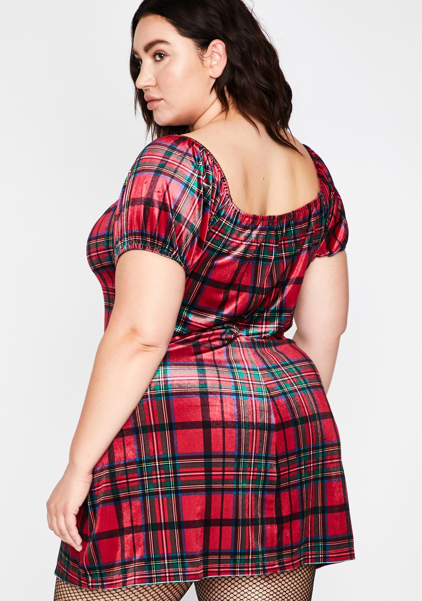 Current Mood Pretty Past Lovers Plaid Dress