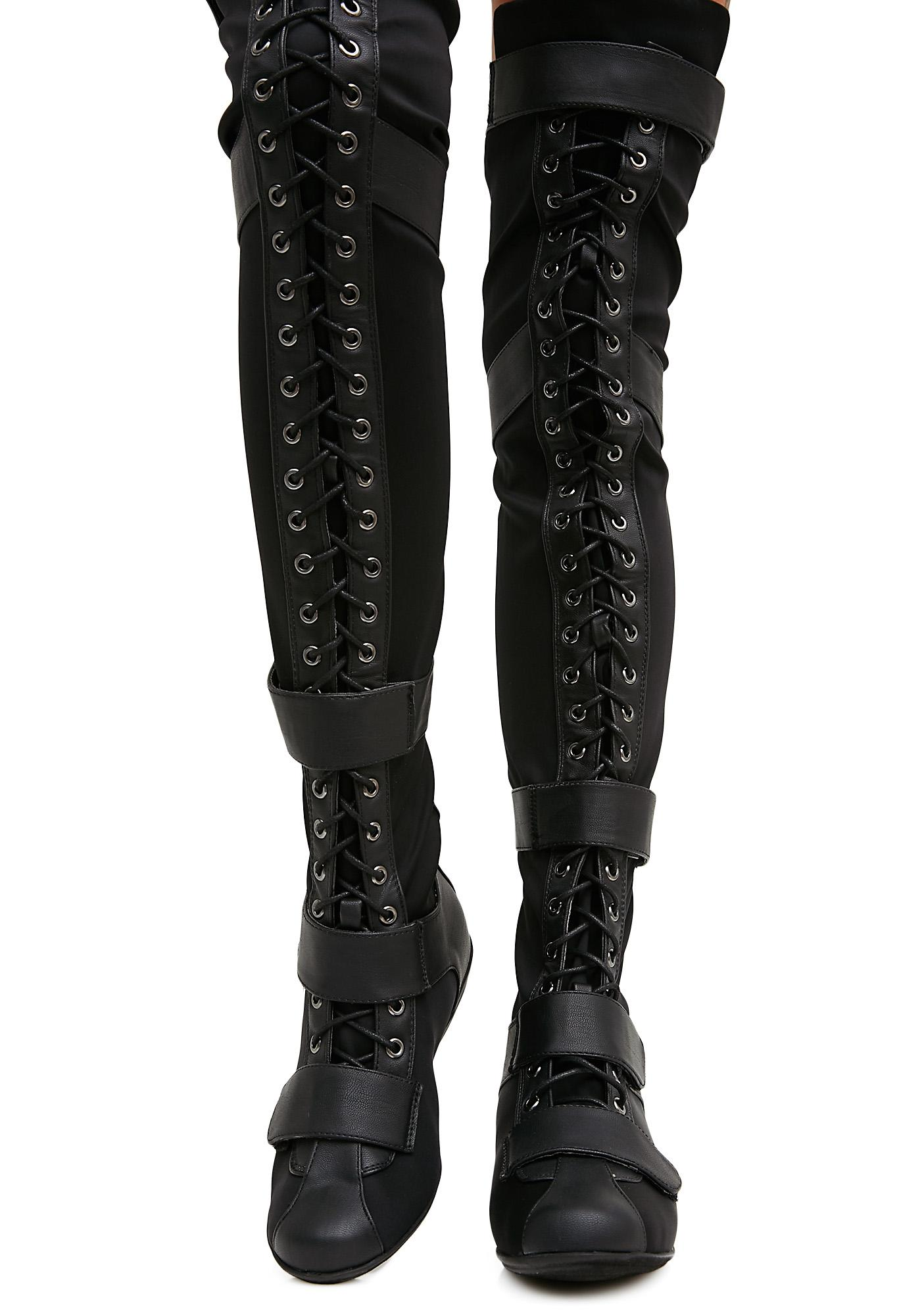 b73da236ff9 Over The Knee Black Lace Up Boots