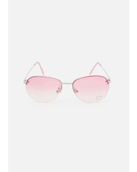 Pink Fabulous Aviator Sunglasses