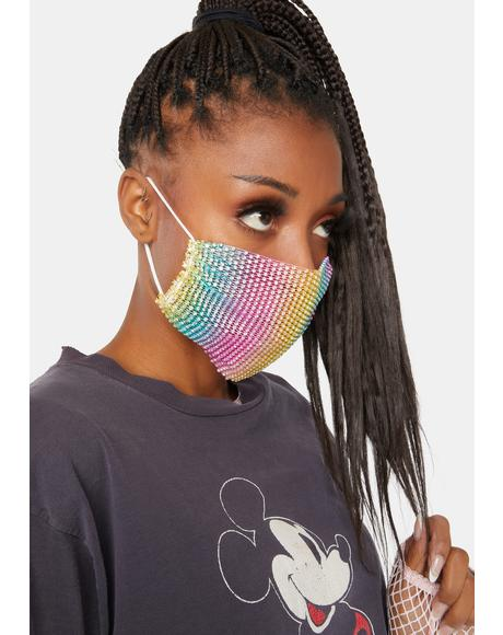 Poker Facie Rainbow Mesh Jewel Face Mask