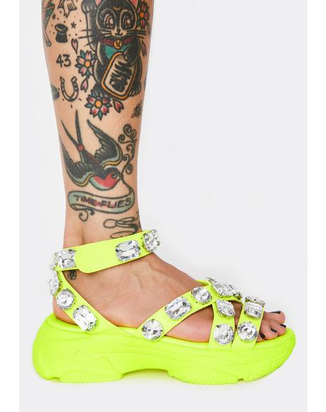 Radioactive Sparklin' Strut Platform Sandals