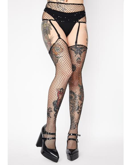 Glittering Gal Garter N' Stockings Set