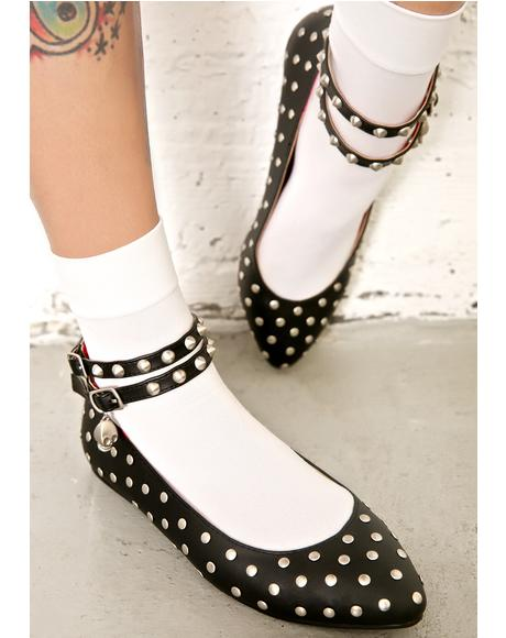 Devil's Kiss Studded Flats