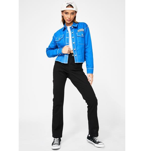 Dickies Girl Blue Drop Shoulder Crop Jacket