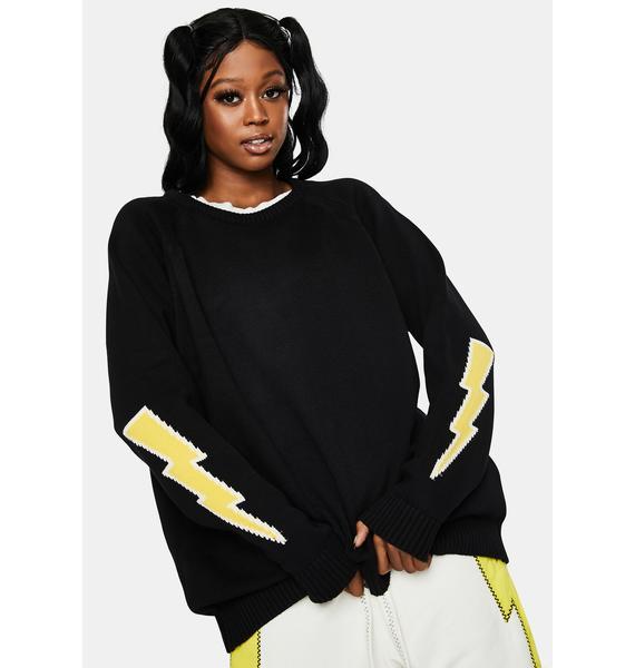 The Rad Black Kids Bolt Knit Sweater
