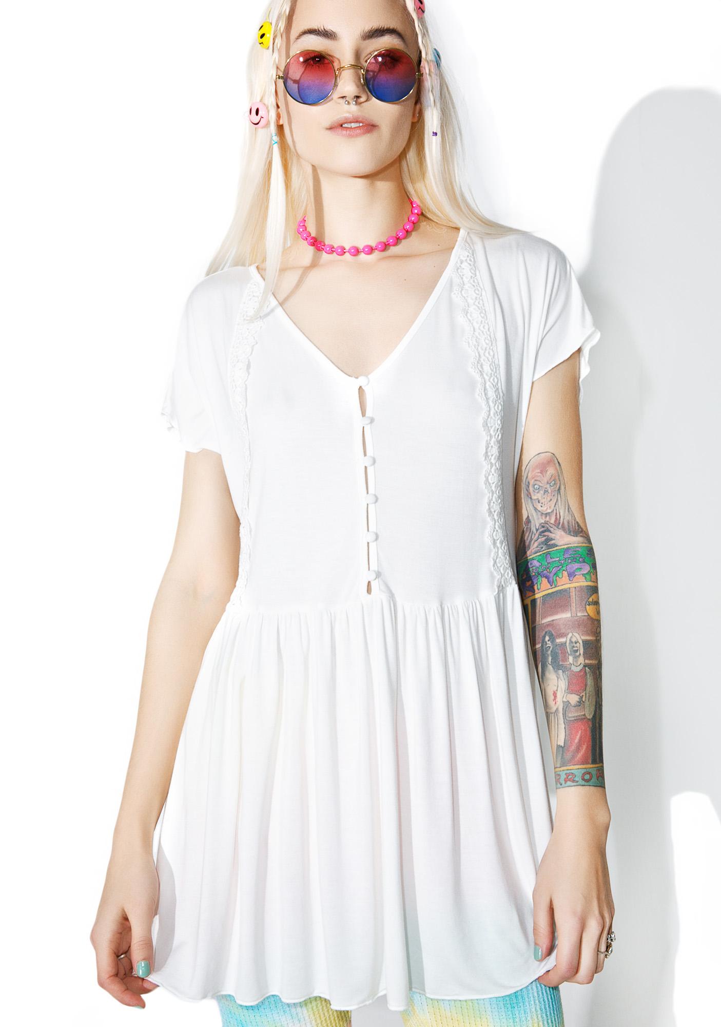 Drape White Babydoll Dress