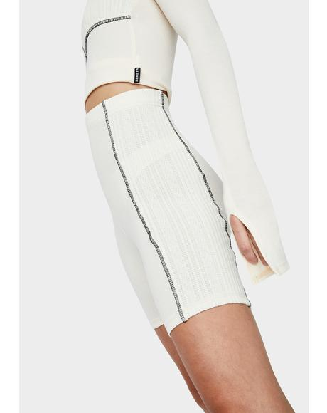 Ivory Knit Stitch Biker Shorts