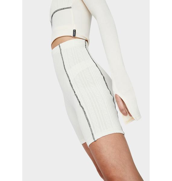 ZEMETA Ivory Knit Stitch Biker Shorts