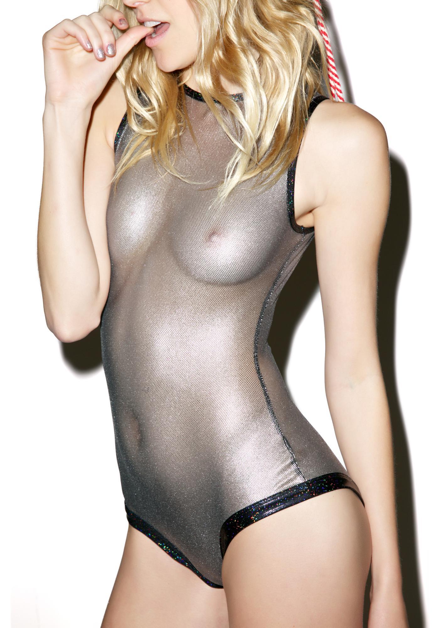 J Valentine Gunmetal Glitz Fishnet Bodysuit