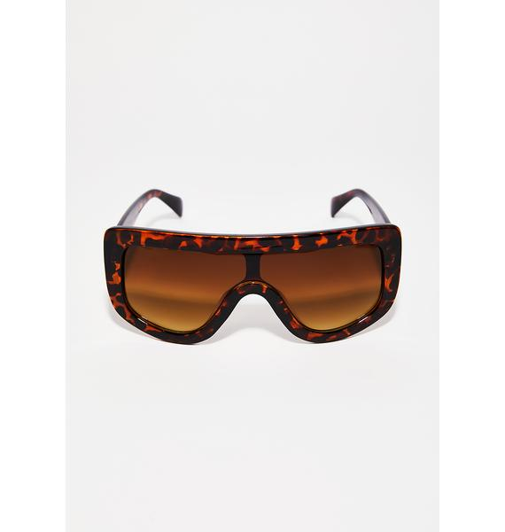 Caramel Blockin' You Out Shield Sunglasses