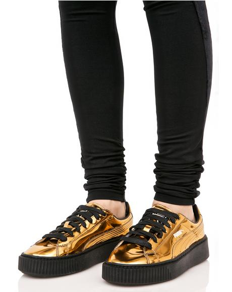 Gold Metallic Creeper Sneakers