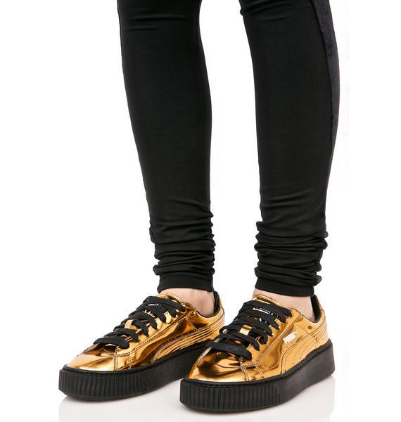 PUMA Gold Metallic Creeper Sneakers