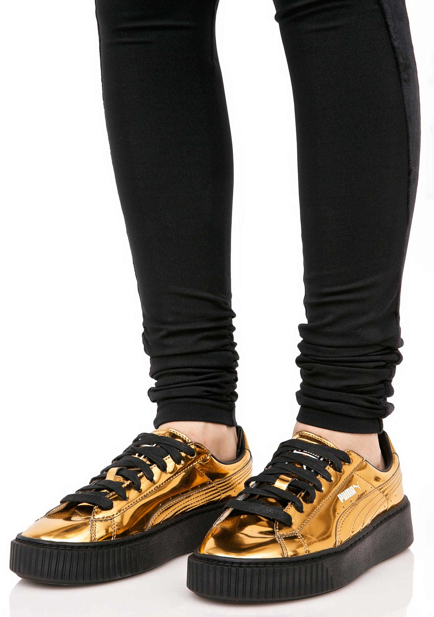 PUMA Gold Metallic Creeper Sneakers