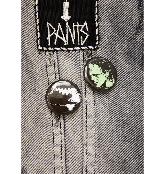 Rock Rebel Bride & Frankenstein Button Set