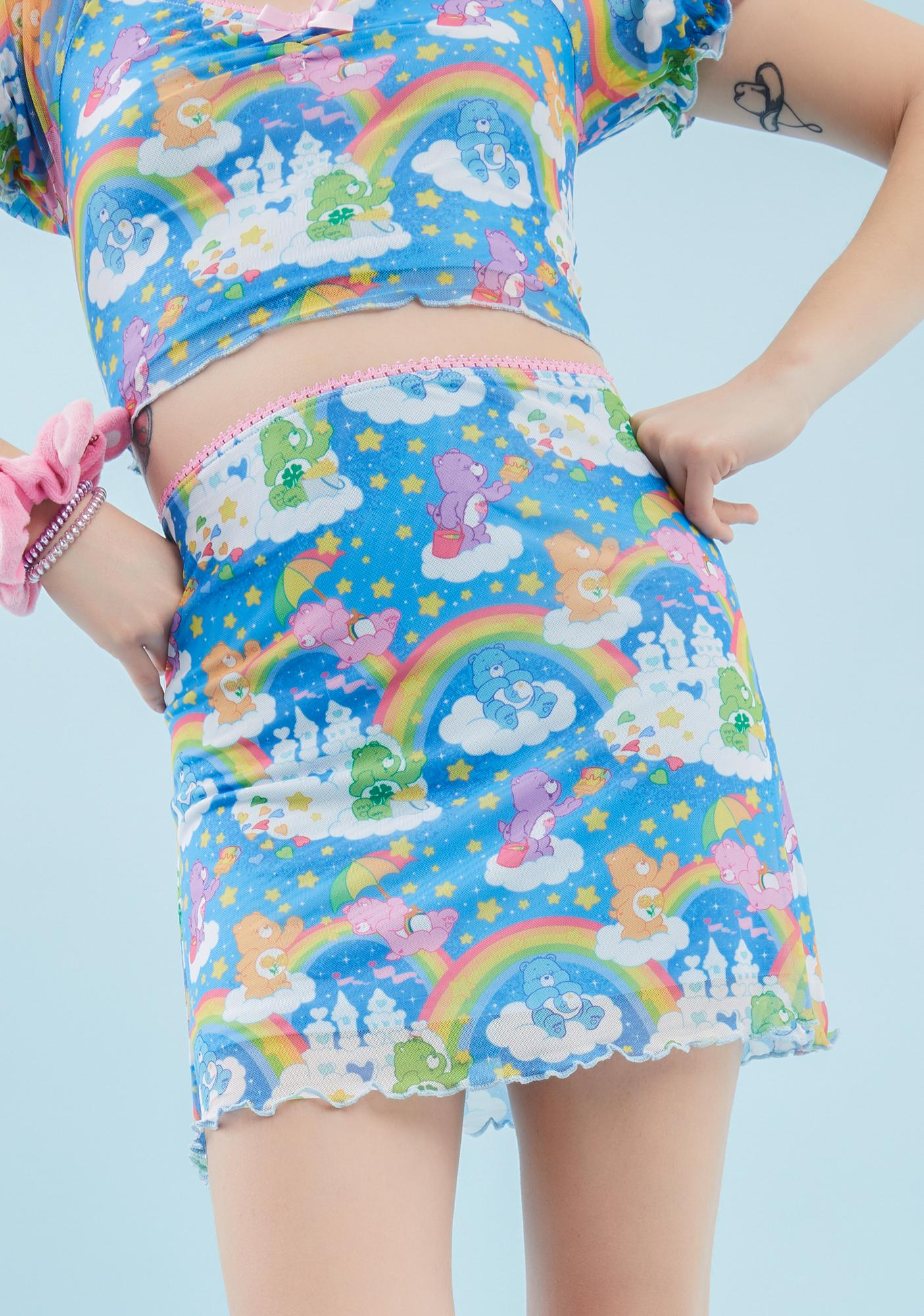 Dolls Kill x Care Bears Sharing Is Caring Mesh Skirt