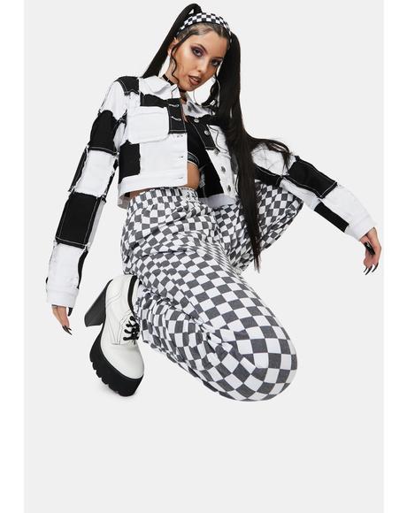 White Checkerboard Trousers