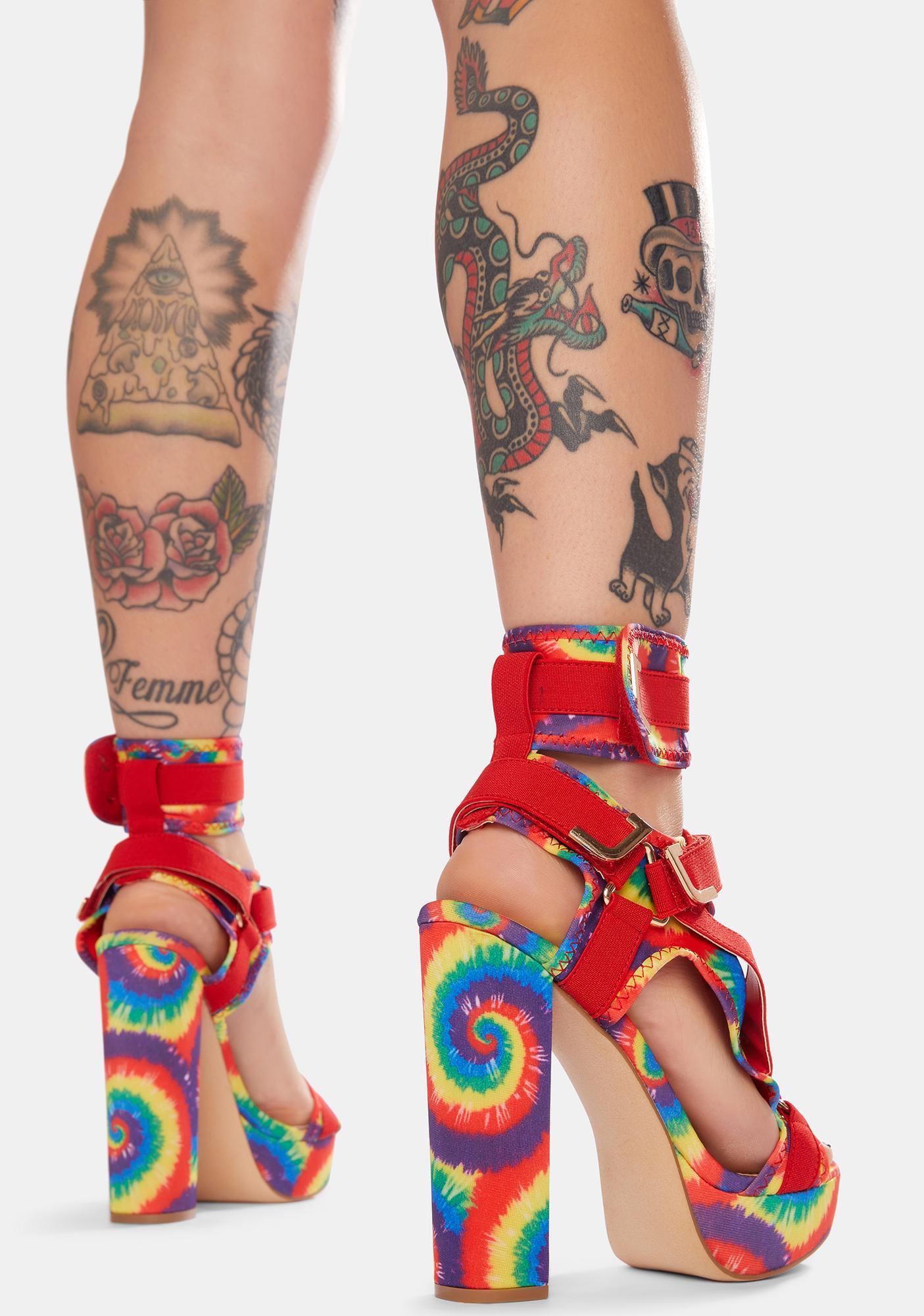 Tie Dye On The Runway Strappy Heels