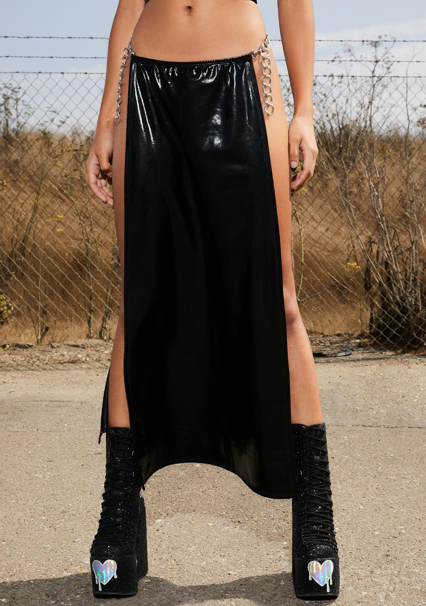 Club Exx Wrapped In Moonlight Chain Maxi Skirt