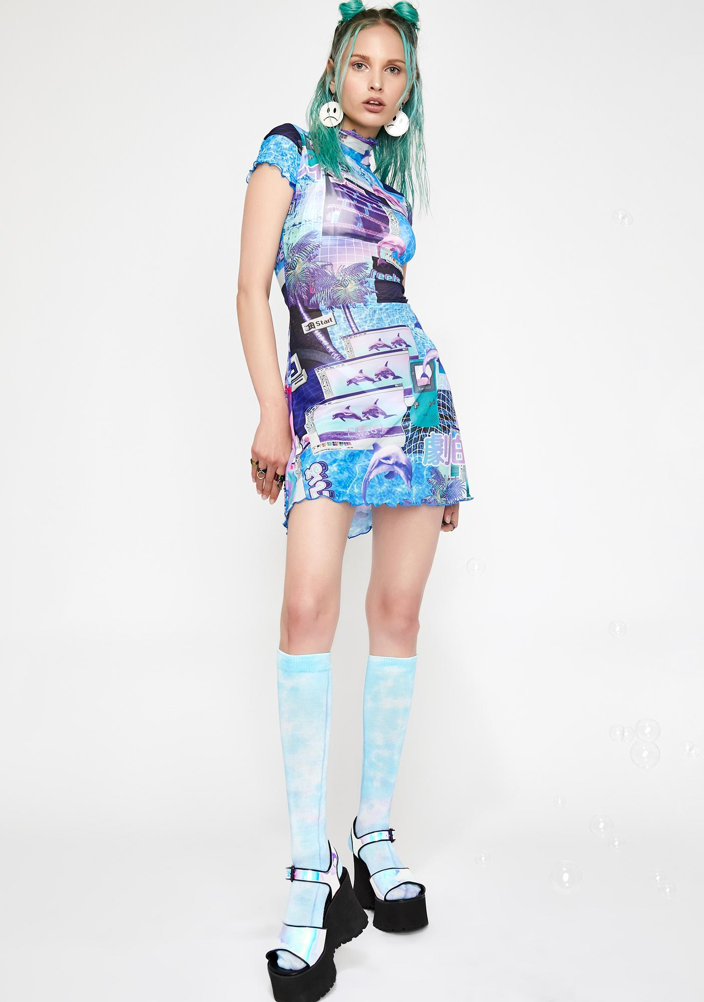 HOROSCOPEZ Cyber Splash Mesh Dress