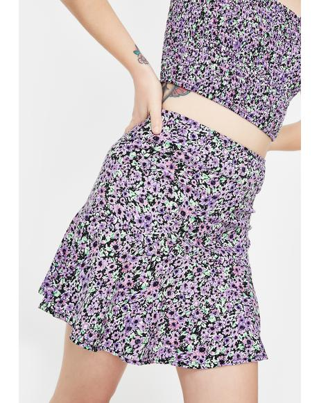 Lilac Floral Gaelle Mini Skirt