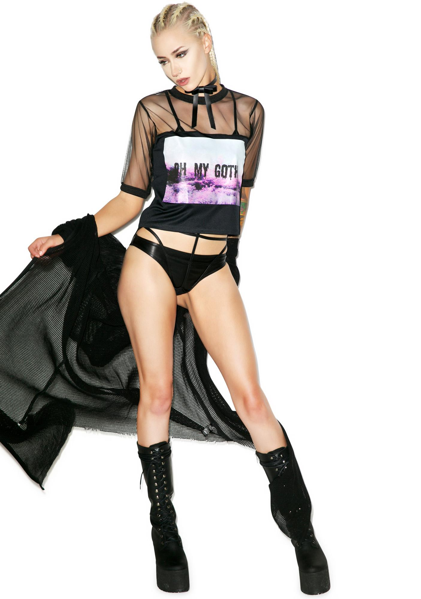 Oh My Goth Mesh Crop Top