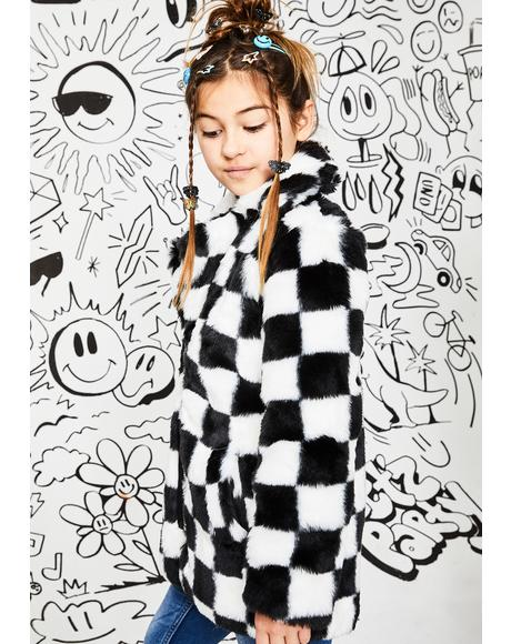 Kids Wild Youth Checkered Faux Fur Coat