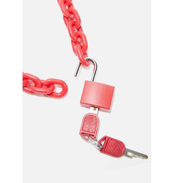 Lit Cyber Children Lock Necklace
