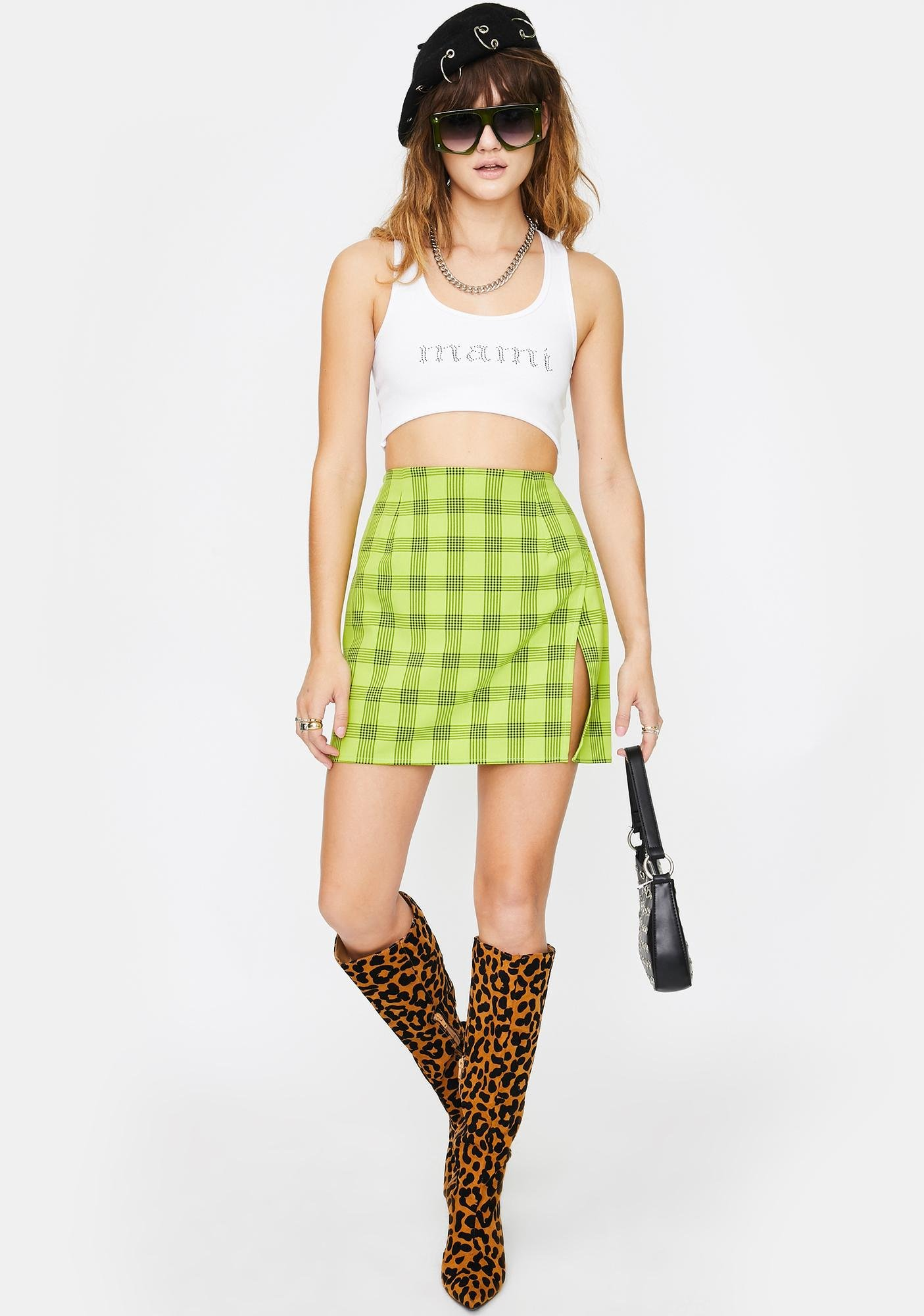 Twiin Lime Green Tonic Mini Skirt