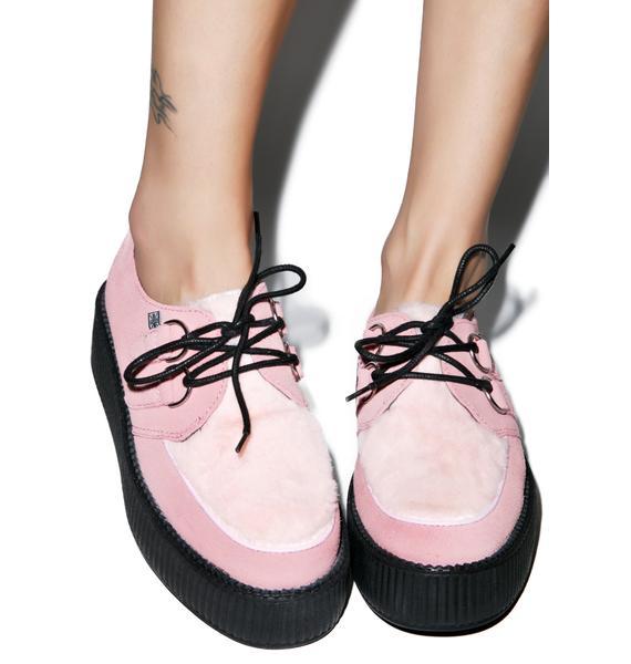 T.U.K. Pink Suede & Faux Fur Mondo Creepers