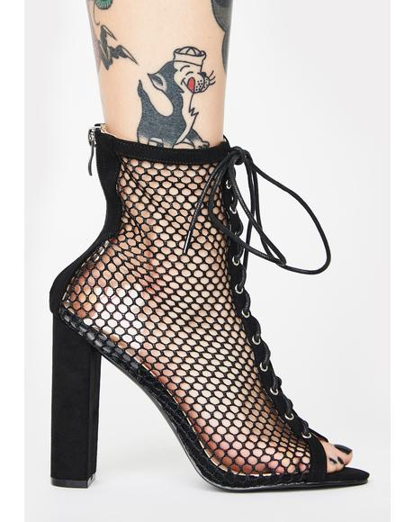 Come Back Lace-Up Fishnet Heels