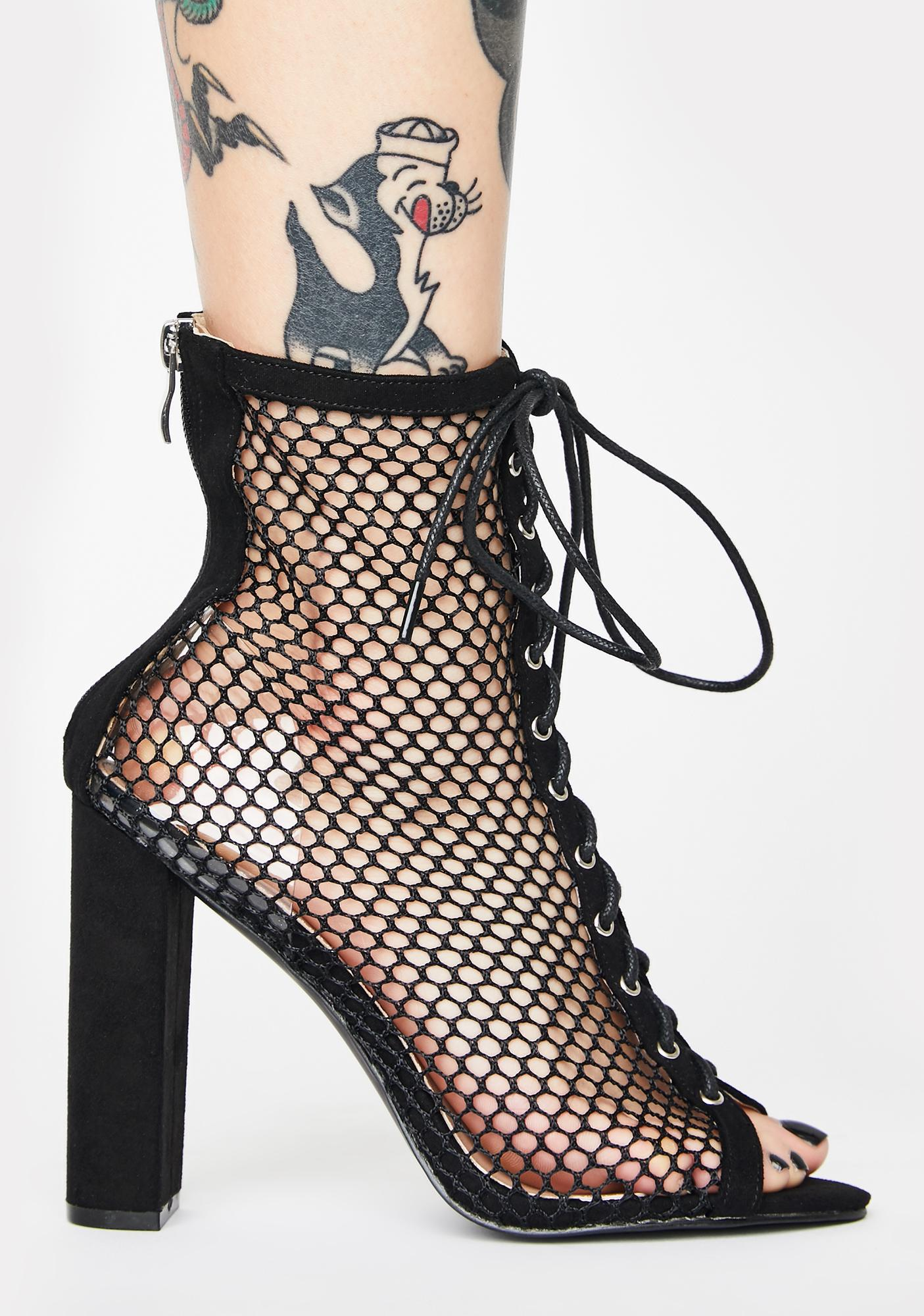 Public Desire Come Back Lace-Up Fishnet Heels
