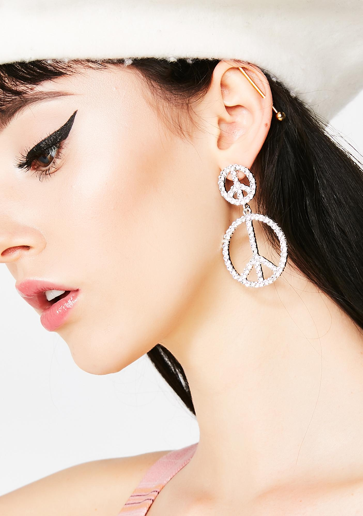 Lover Grl Peace Sign Earrings