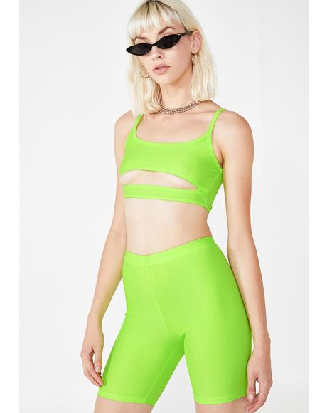 Lime Mish Cut Out Crop Top