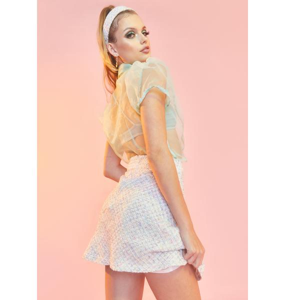 Sugar Thrillz Blanc We're Going Shopping Mini Skirt