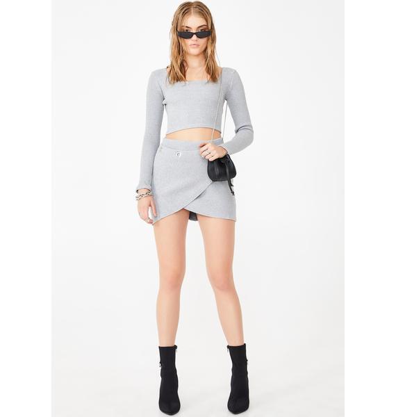 Another Reason Gray Ribbed Mini Skirt