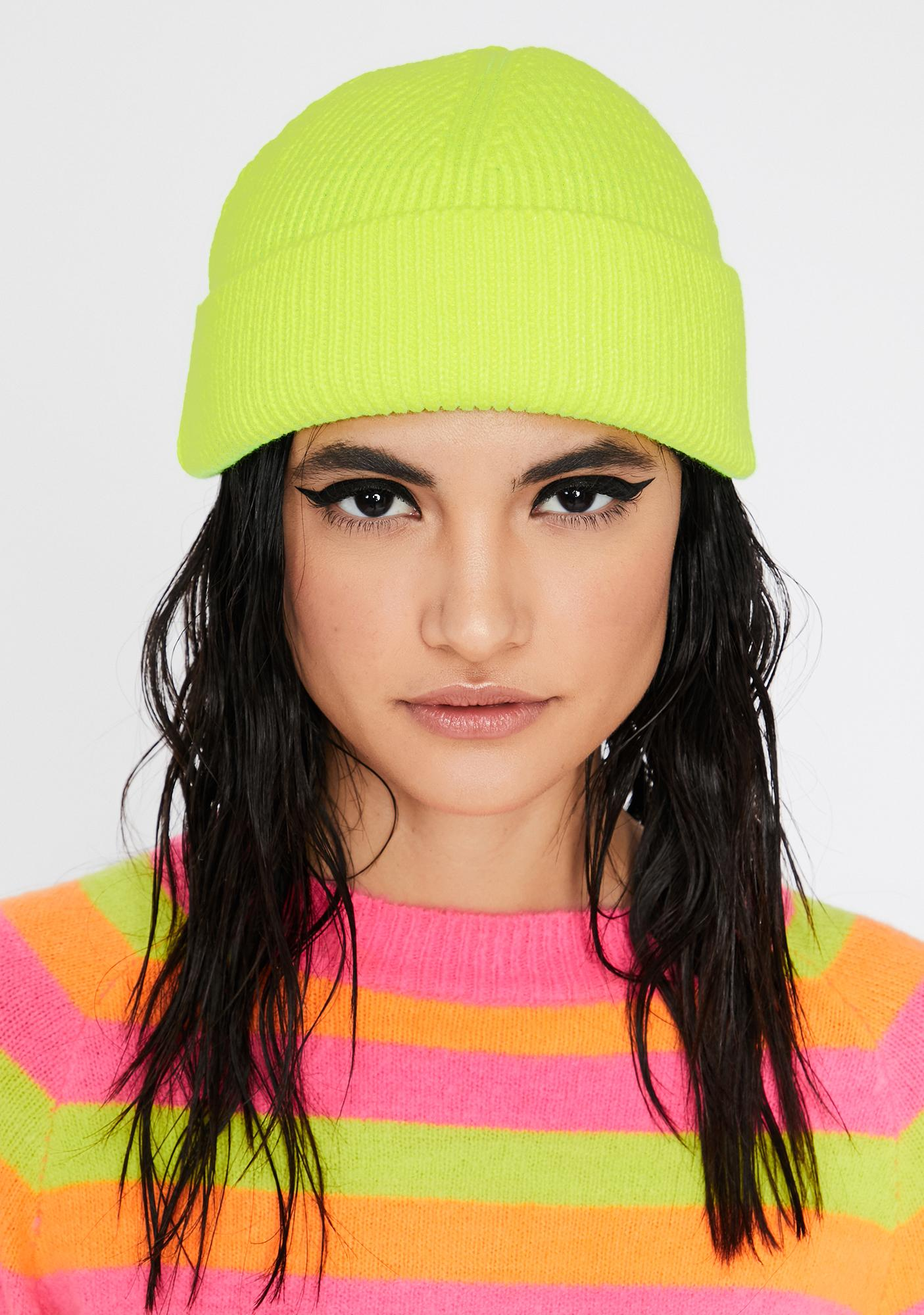 Color Shock Ribbed Beanie