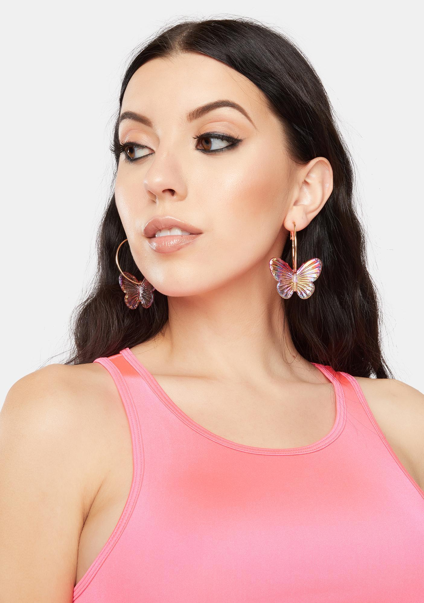Magical Butterfly Hoop Earrings