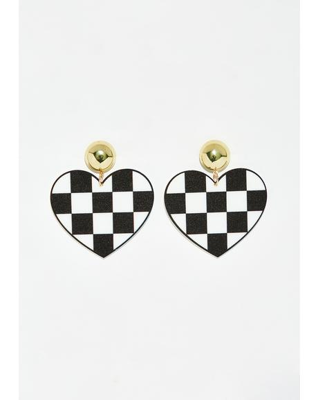 Fast Love Checkered Earrings