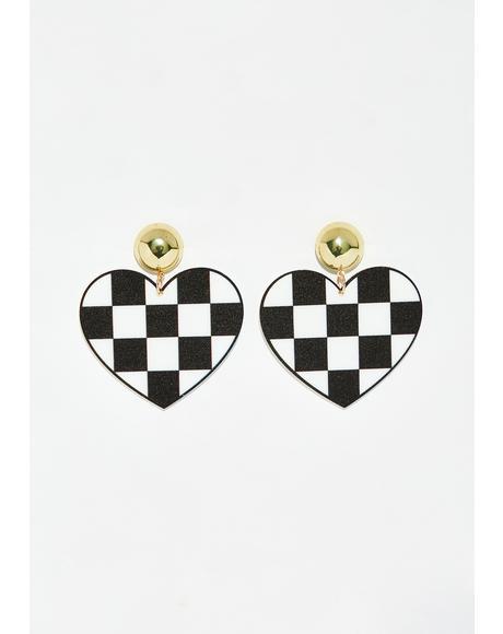 Fast Love Checkered Earrings