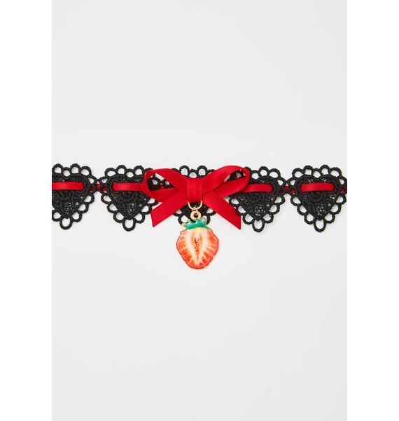 Strawberry Bubblegum Lace Choker