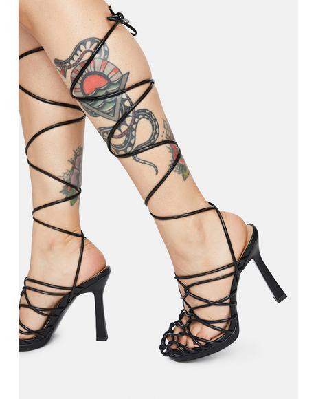 Black Brebre Wrap Heels