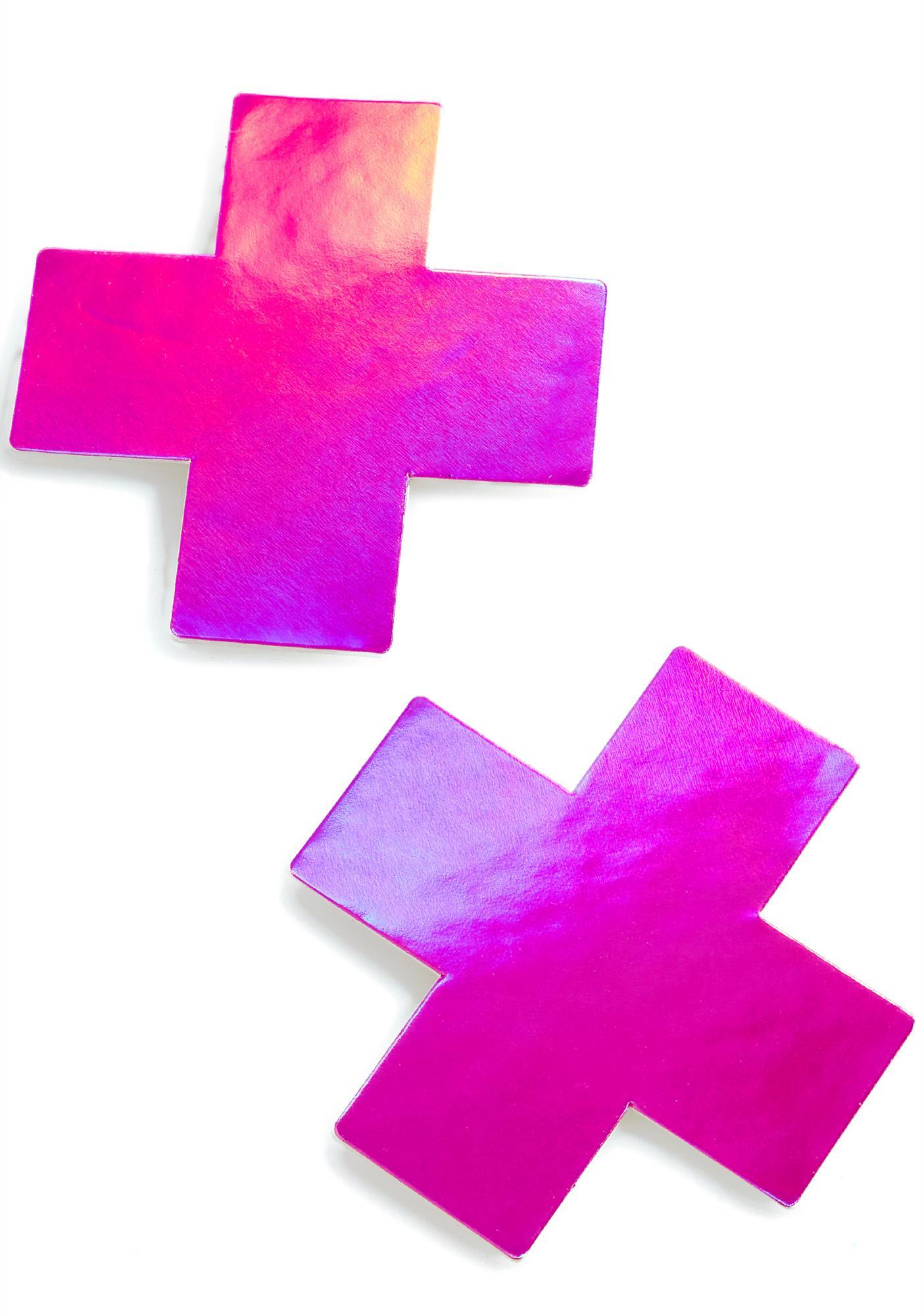 Pastease Pink Hologram Cross Pasties