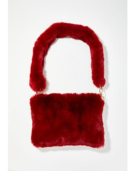Wine Dazzling Lady Faux Fur Bag
