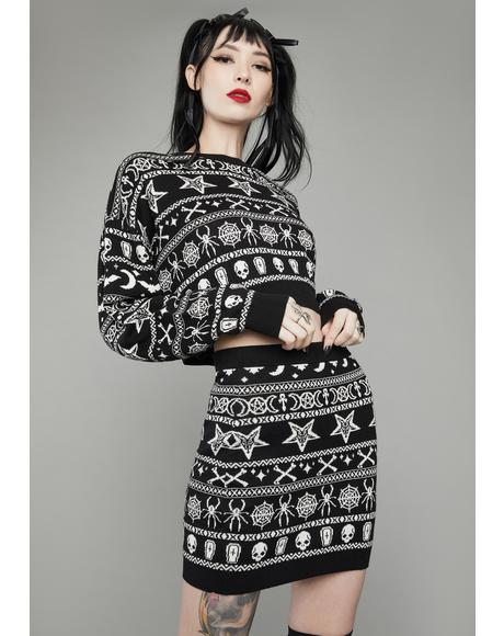 Festive Fear Knit Mini Skirt
