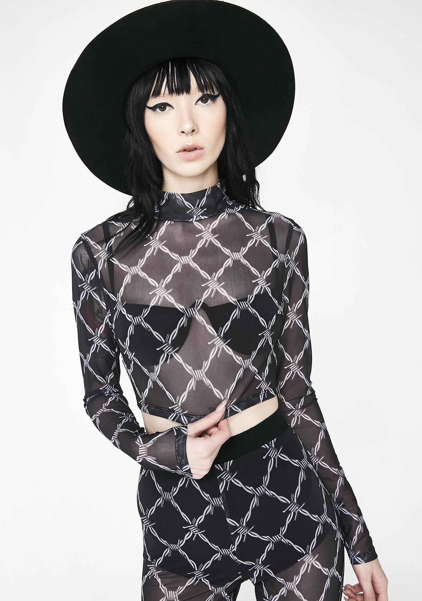 Jaded London Barbwire Mesh Top