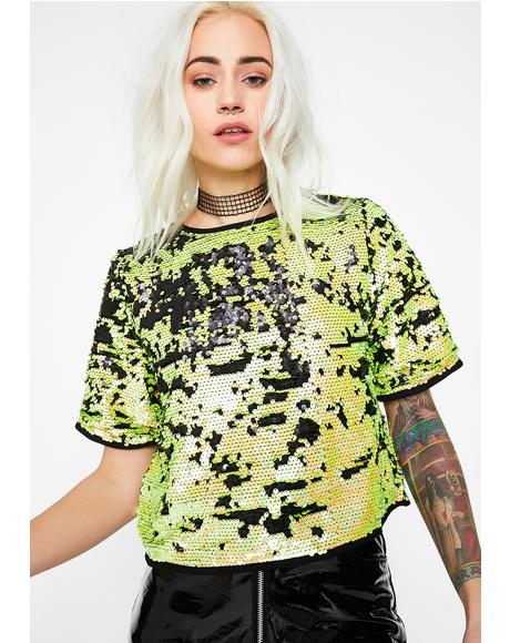 Toxic Wasted Youth Sequin Top