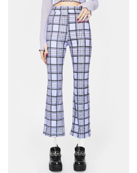 Purple Checkered Crop Flare Pants