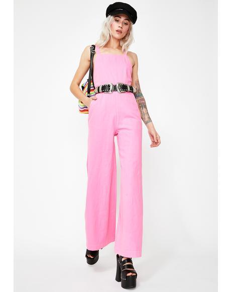 Hot Pink Alice Linen Overalls